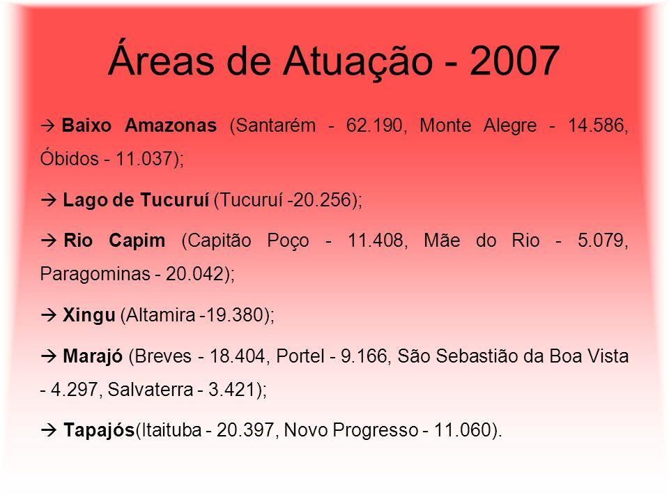 Áreas de Atuação - 2007 Lago de Tucuruí (Tucuruí -20.256);