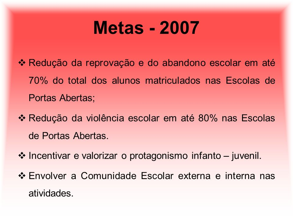 Metas - 2007 Redução da reprovação e do abandono escolar em até 70% do total dos alunos matriculados nas Escolas de Portas Abertas;