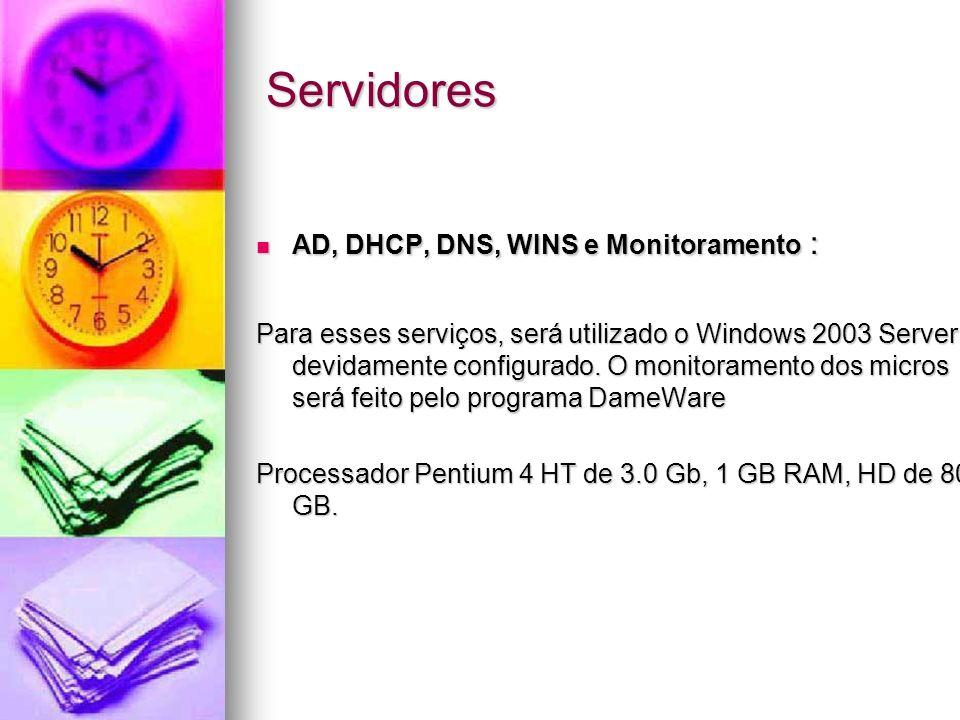 Servidores AD, DHCP, DNS, WINS e Monitoramento :
