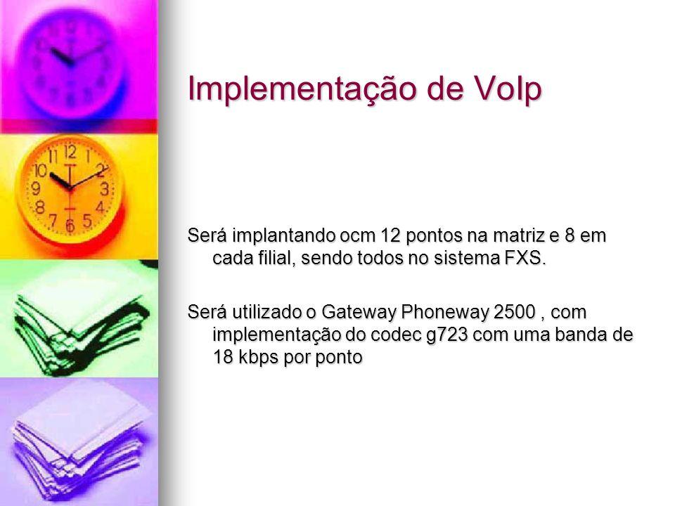 Implementação de VoIp Será implantando ocm 12 pontos na matriz e 8 em cada filial, sendo todos no sistema FXS.