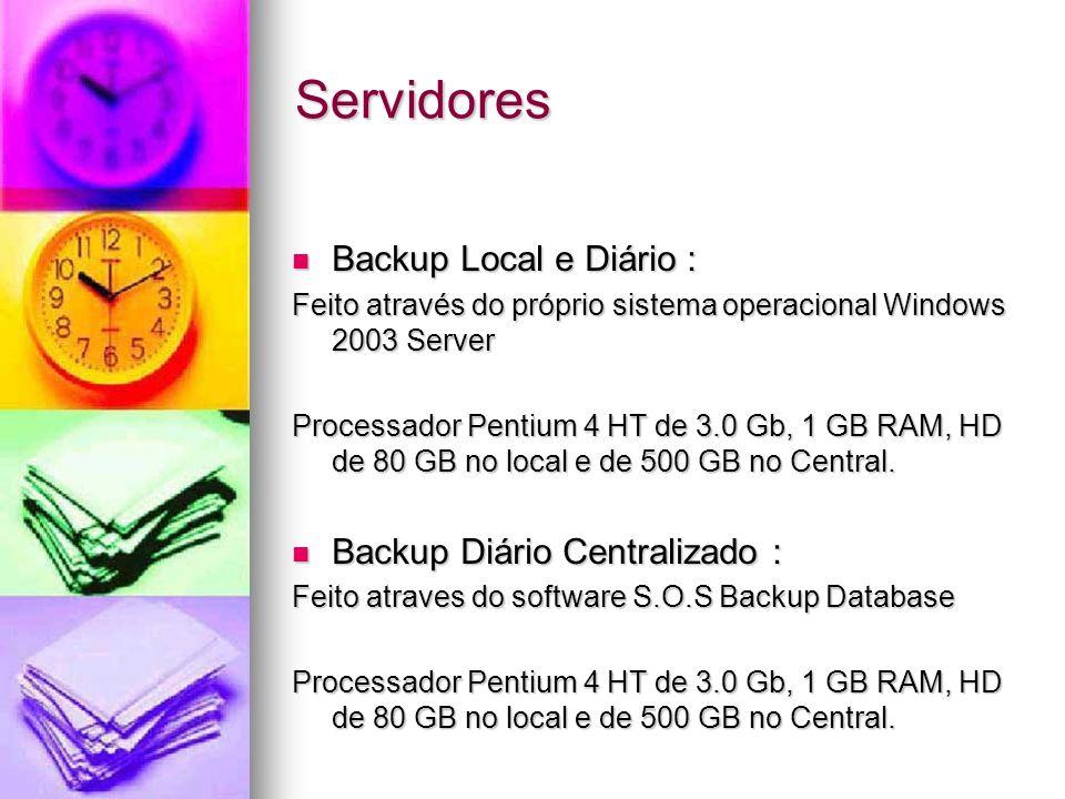 Servidores Backup Local e Diário : Backup Diário Centralizado :
