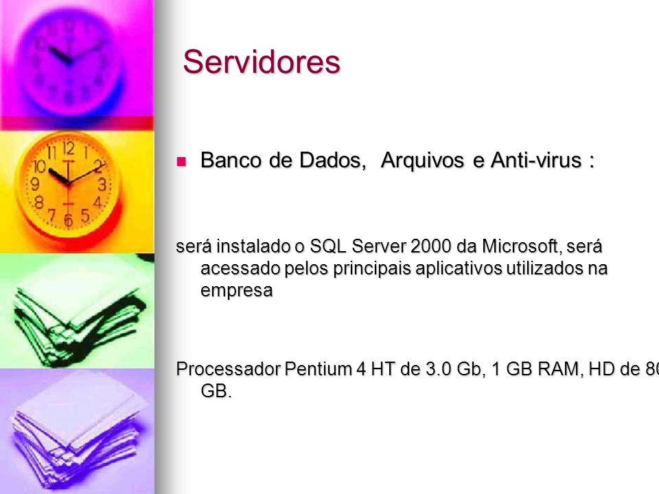 Servidores Banco de Dados, Arquivos e Anti-virus :