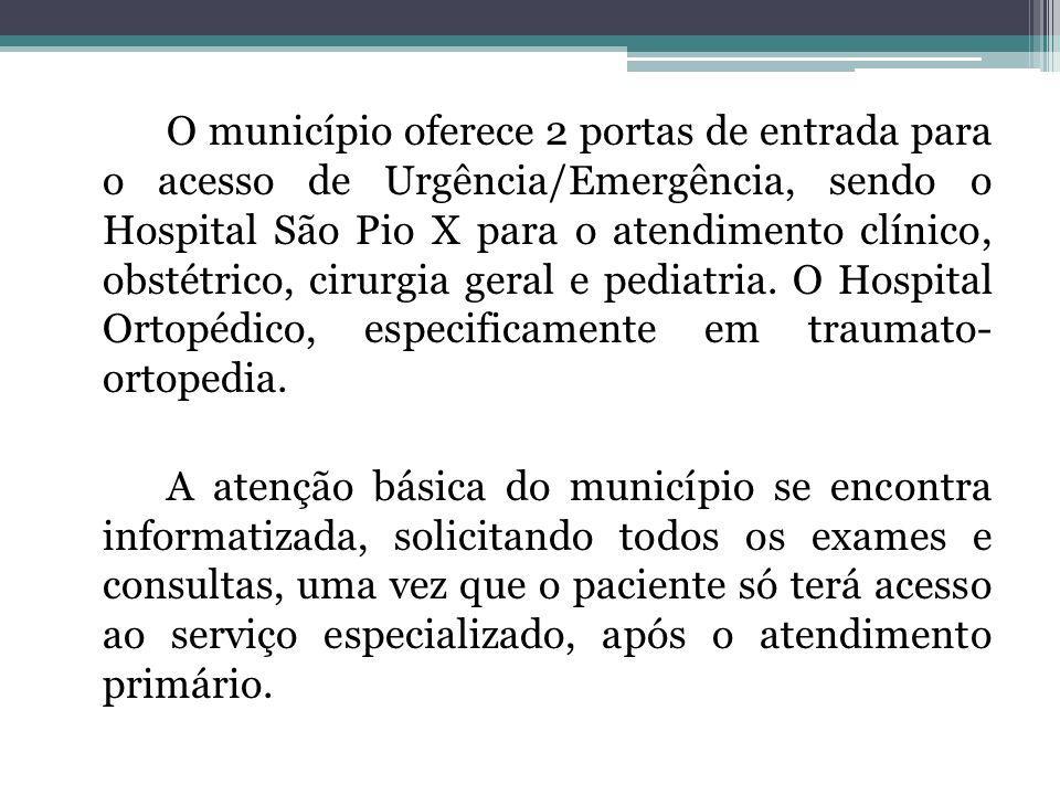 O município oferece 2 portas de entrada para o acesso de Urgência/Emergência, sendo o Hospital São Pio X para o atendimento clínico, obstétrico, cirurgia geral e pediatria. O Hospital Ortopédico, especificamente em traumato- ortopedia.