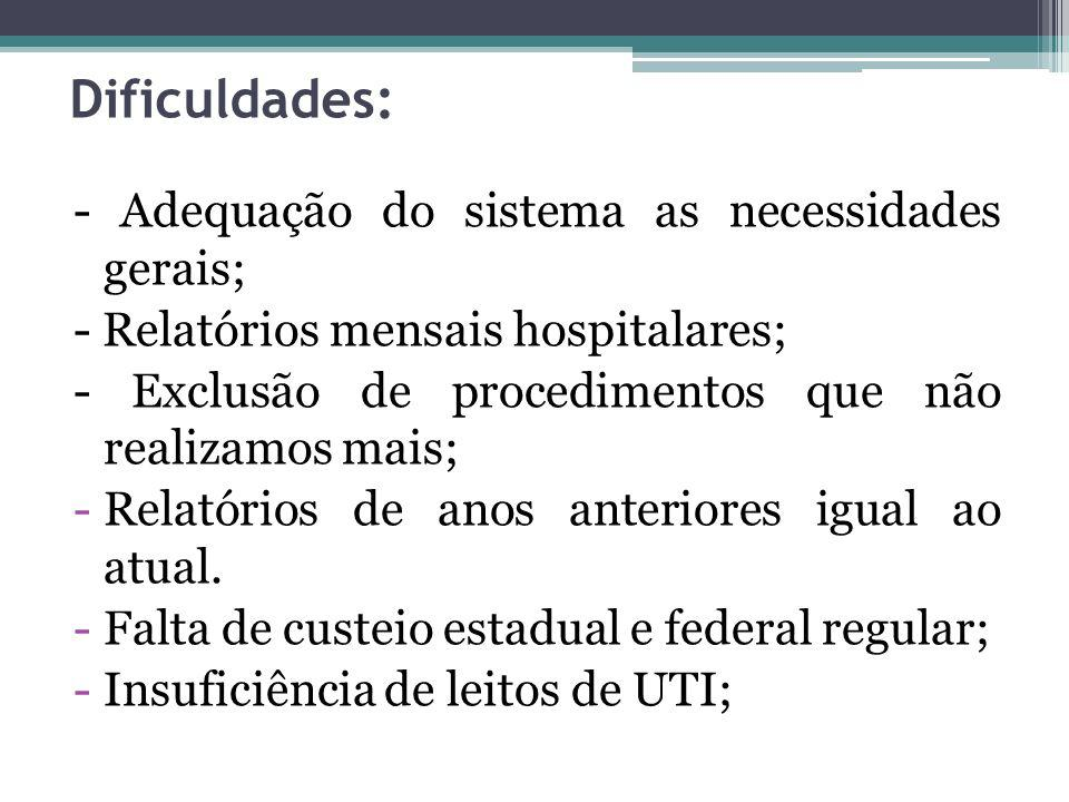 Dificuldades: - Adequação do sistema as necessidades gerais;