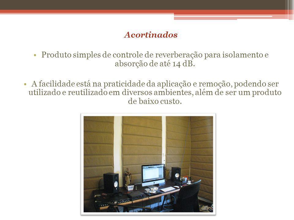 Acortinados Produto simples de controle de reverberação para isolamento e absorção de até 14 dB.