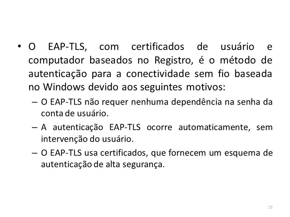 O EAP-TLS, com certificados de usuário e computador baseados no Registro, é o método de autenticação para a conectividade sem fio baseada no Windows devido aos seguintes motivos: