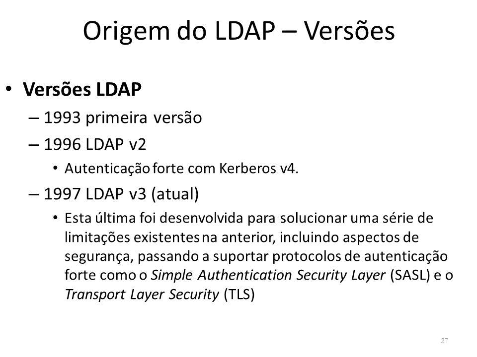 Origem do LDAP – Versões