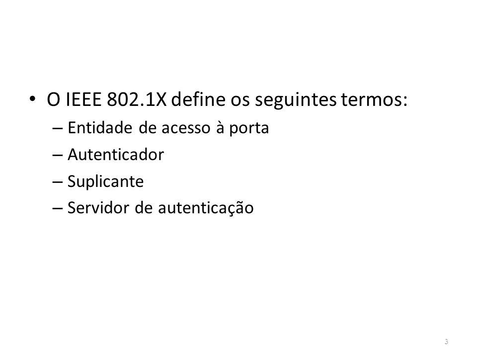 O IEEE 802.1X define os seguintes termos: