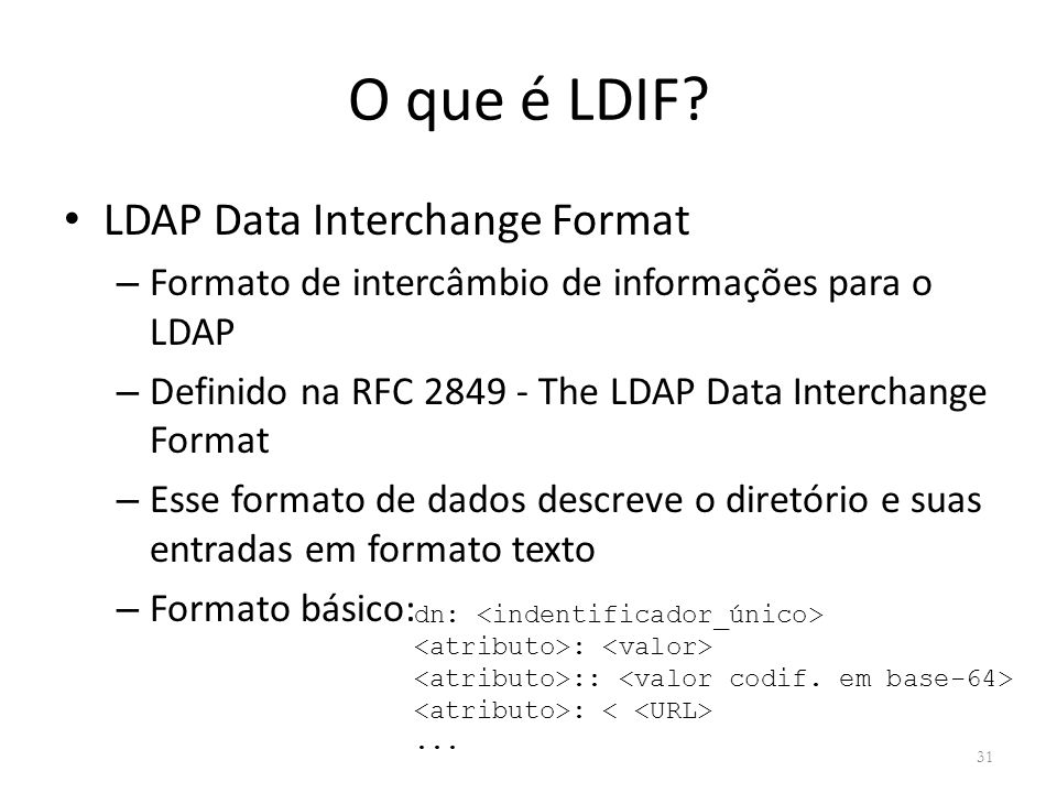 O que é LDIF LDAP Data Interchange Format