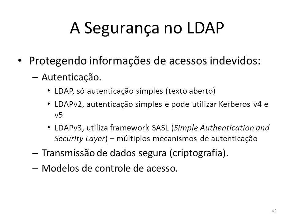 A Segurança no LDAP Protegendo informações de acessos indevidos: