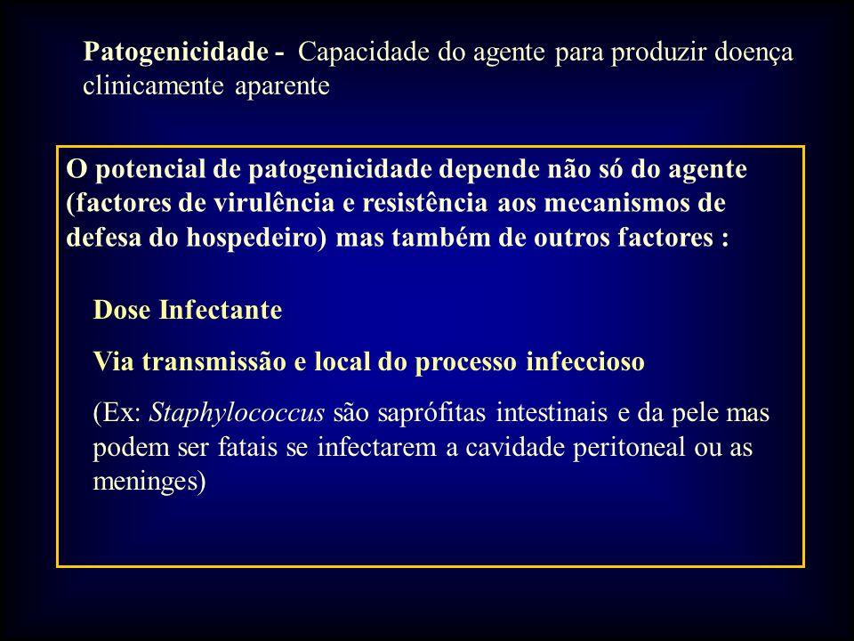 Patogenicidade - Capacidade do agente para produzir doença clinicamente aparente