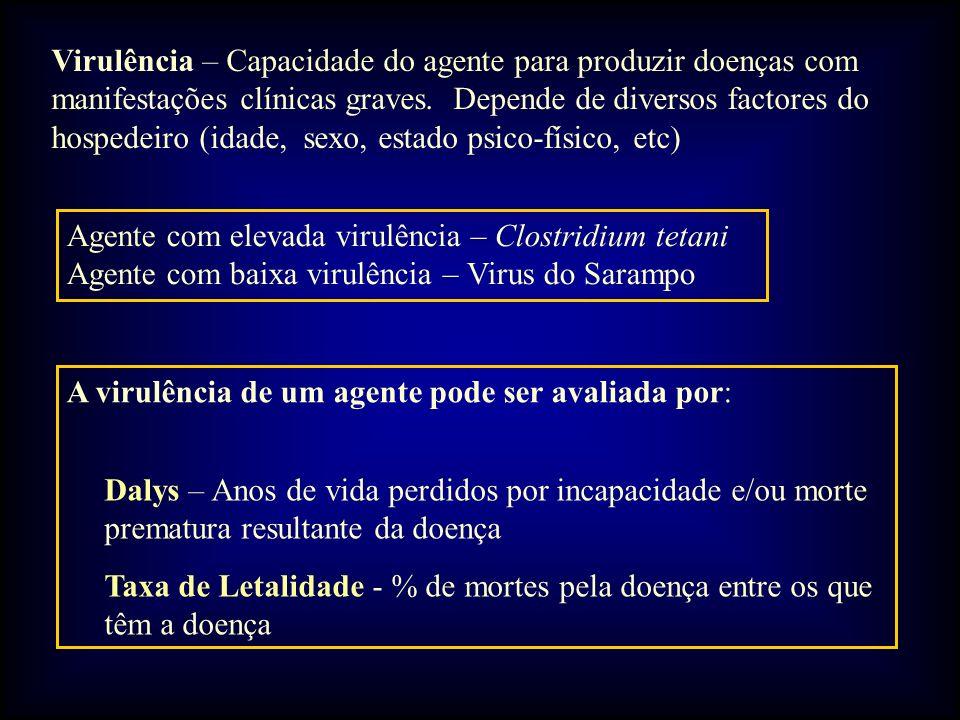 Virulência – Capacidade do agente para produzir doenças com manifestações clínicas graves. Depende de diversos factores do hospedeiro (idade, sexo, estado psico-físico, etc)
