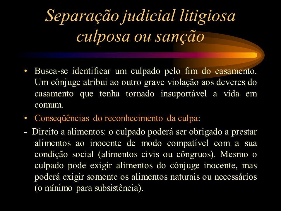Separação judicial litigiosa culposa ou sanção