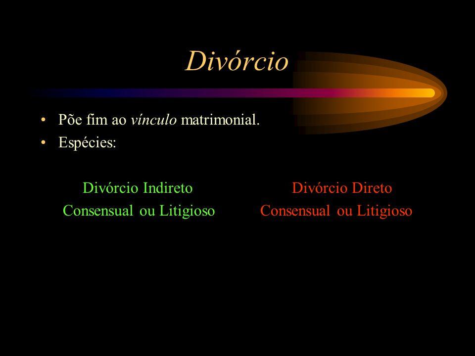 Divórcio Põe fim ao vínculo matrimonial. Espécies: