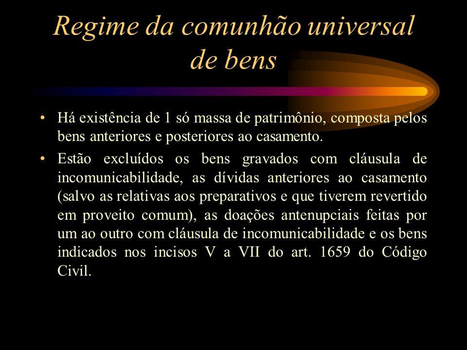 Regime da comunhão universal de bens