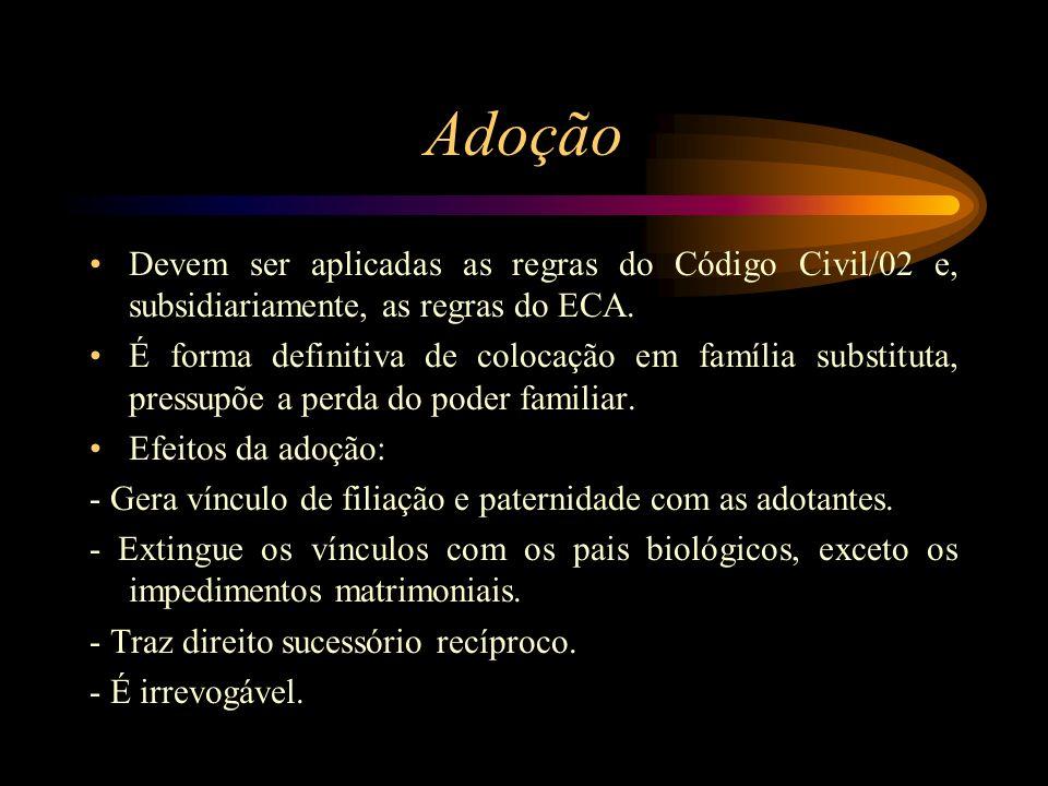 Adoção Devem ser aplicadas as regras do Código Civil/02 e, subsidiariamente, as regras do ECA.