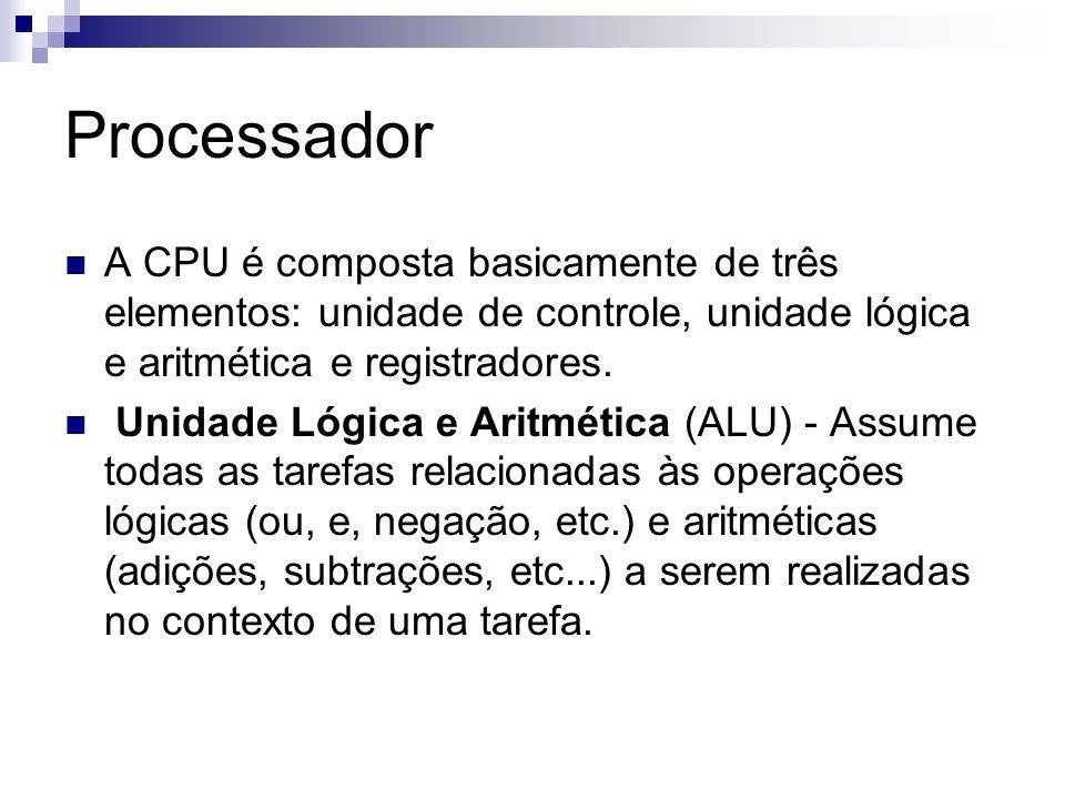 Processador A CPU é composta basicamente de três elementos: unidade de controle, unidade lógica e aritmética e registradores.