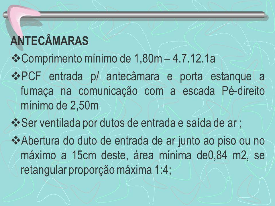 ANTECÂMARAS Comprimento mínimo de 1,80m – 4.7.12.1a.
