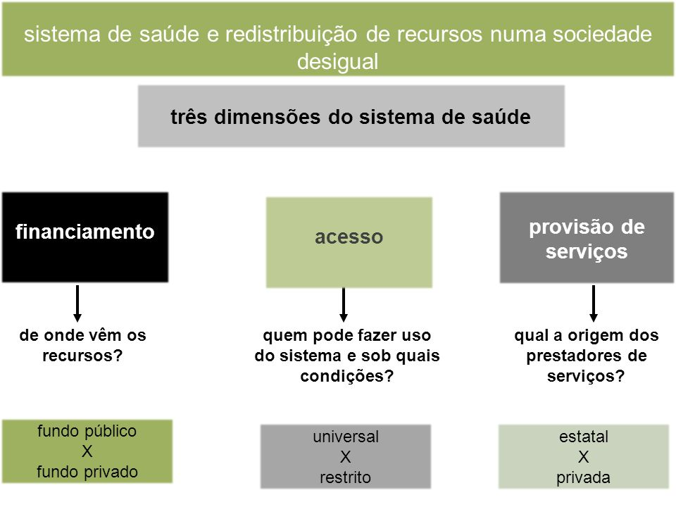 sistema de saúde e redistribuição de recursos numa sociedade desigual