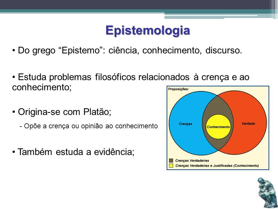 Epistemologia Do grego Epistemo : ciência, conhecimento, discurso.