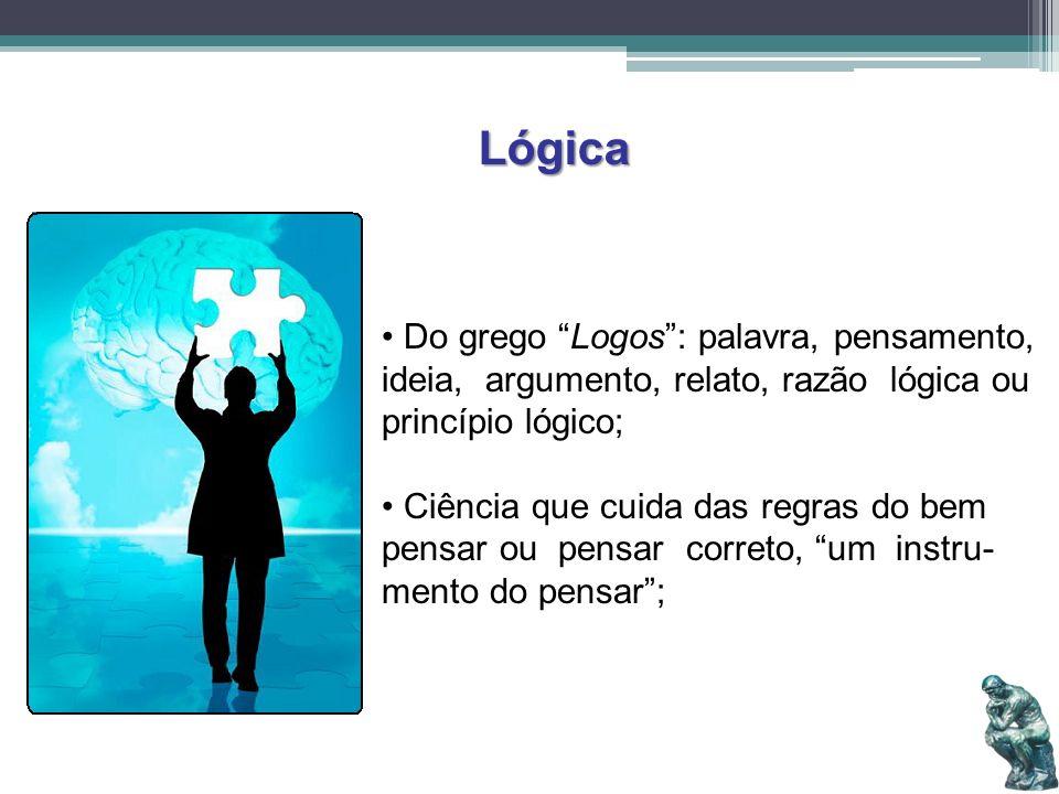 Lógica Do grego Logos : palavra, pensamento, ideia, argumento, relato, razão lógica ou princípio lógico;