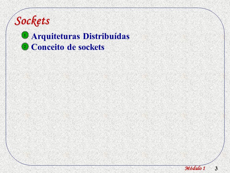 Sockets Arquiteturas Distribuídas Conceito de sockets 1 2 Módulo 1