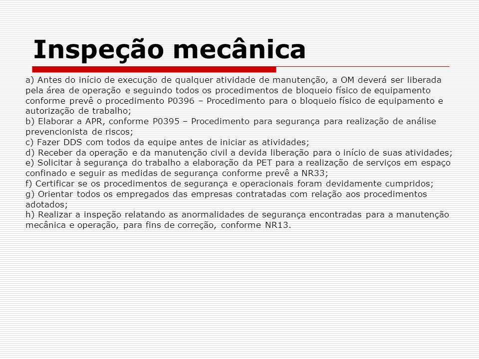 Inspeção mecânica a) Antes do início de execução de qualquer atividade de manutenção, a OM deverá ser liberada.