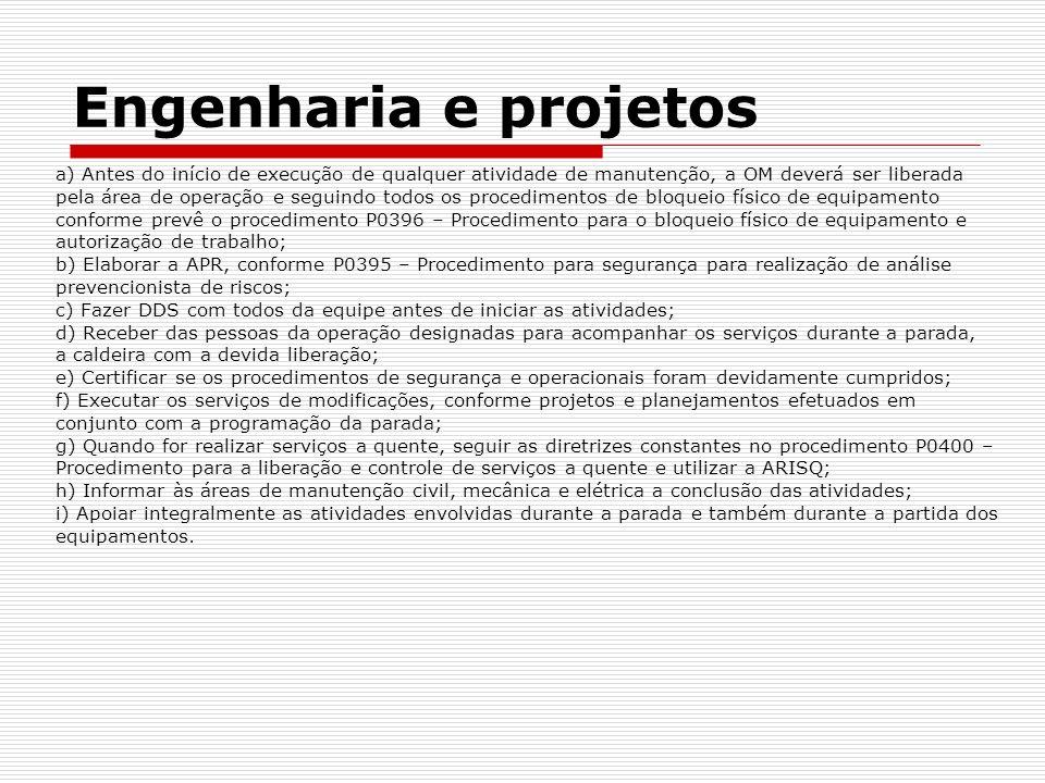Engenharia e projetos a) Antes do início de execução de qualquer atividade de manutenção, a OM deverá ser liberada.