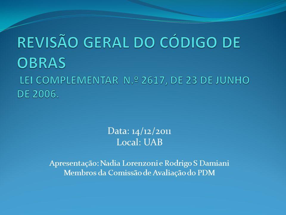 REVISÃO GERAL DO CÓDIGO DE OBRAS LEI COMPLEMENTAR N