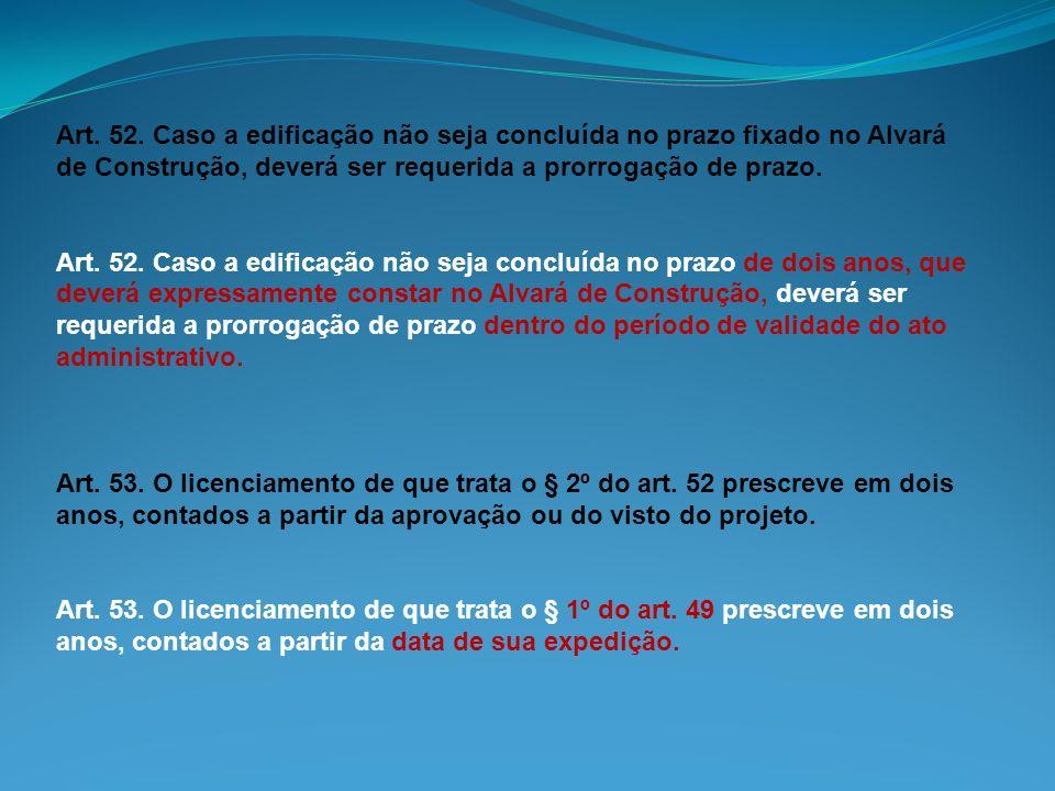 Art. 52. Caso a edificação não seja concluída no prazo fixado no Alvará