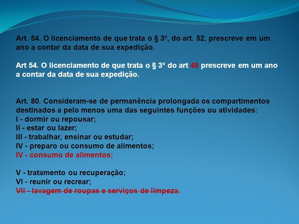 Art. 54. O licenciamento de que trata o § 3º, do art