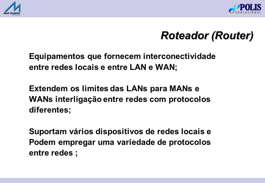 Roteador (Router) Equipamentos que fornecem interconectividade