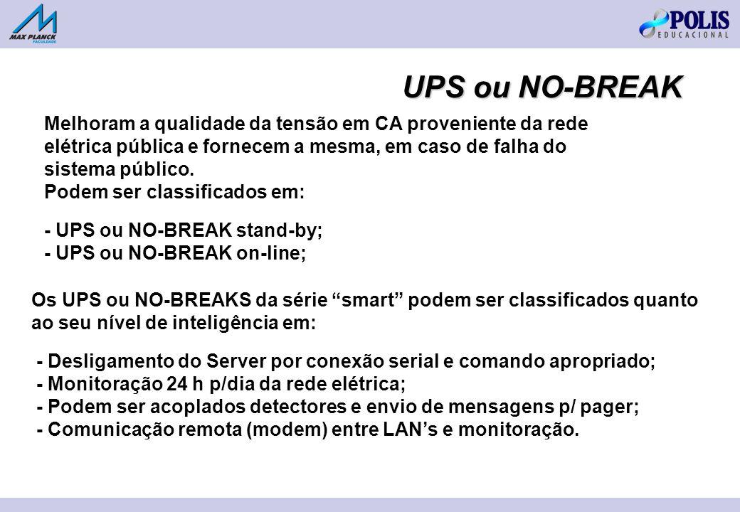 UPS ou NO-BREAK Melhoram a qualidade da tensão em CA proveniente da rede elétrica pública e fornecem a mesma, em caso de falha do sistema público.