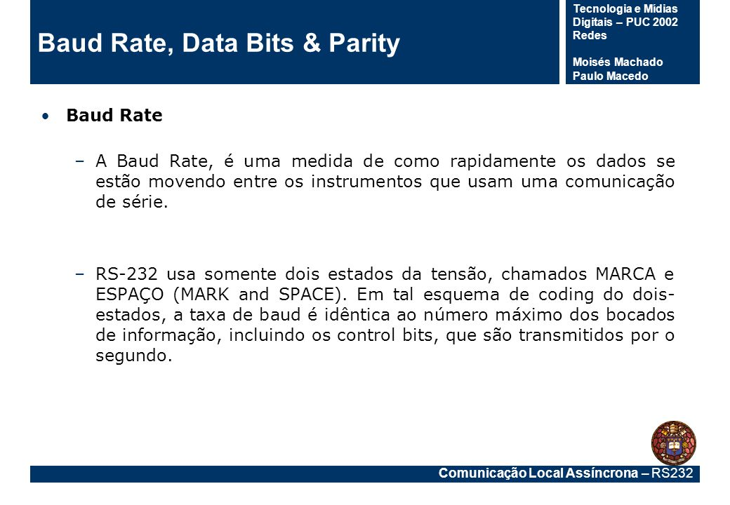 Baud Rate, Data Bits & Parity
