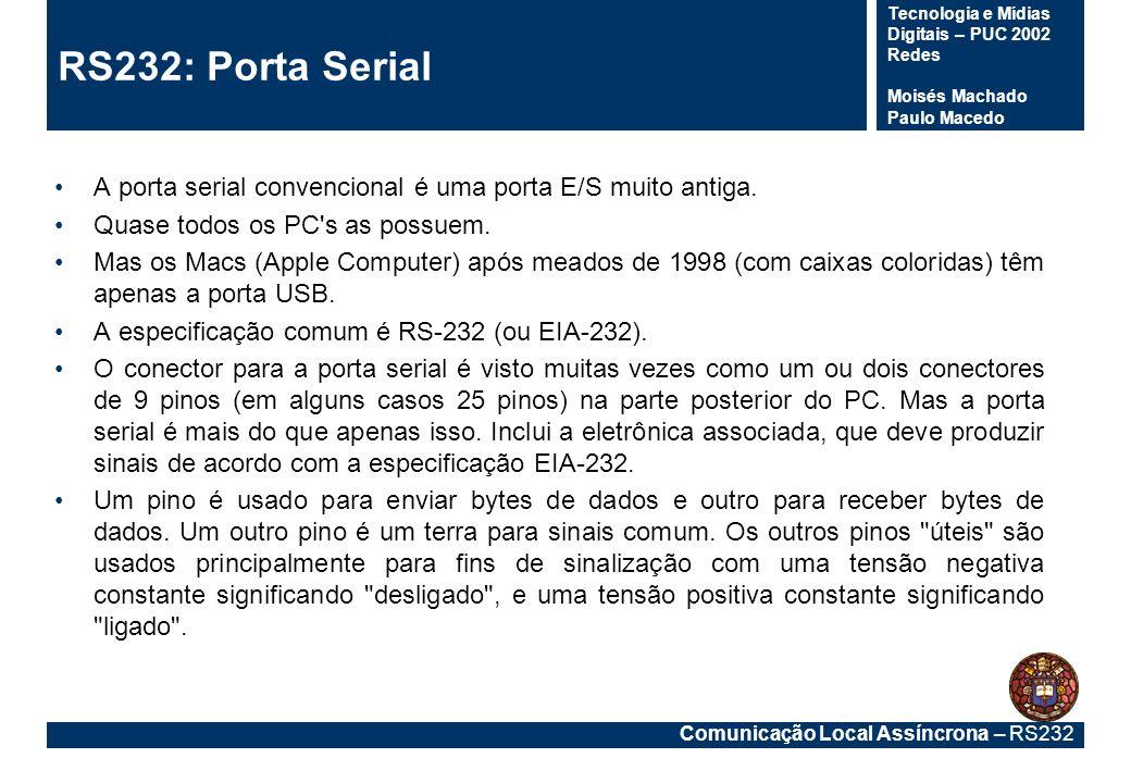 RS232: Porta Serial A porta serial convencional é uma porta E/S muito antiga. Quase todos os PC s as possuem.