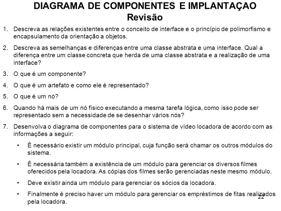 DIAGRAMA DE COMPONENTES E IMPLANTAÇAO Revisão