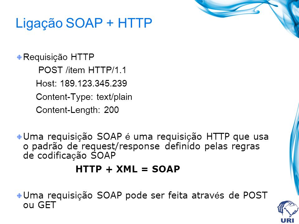 Ligação SOAP + HTTP Requisição HTTP POST /item HTTP/1.1