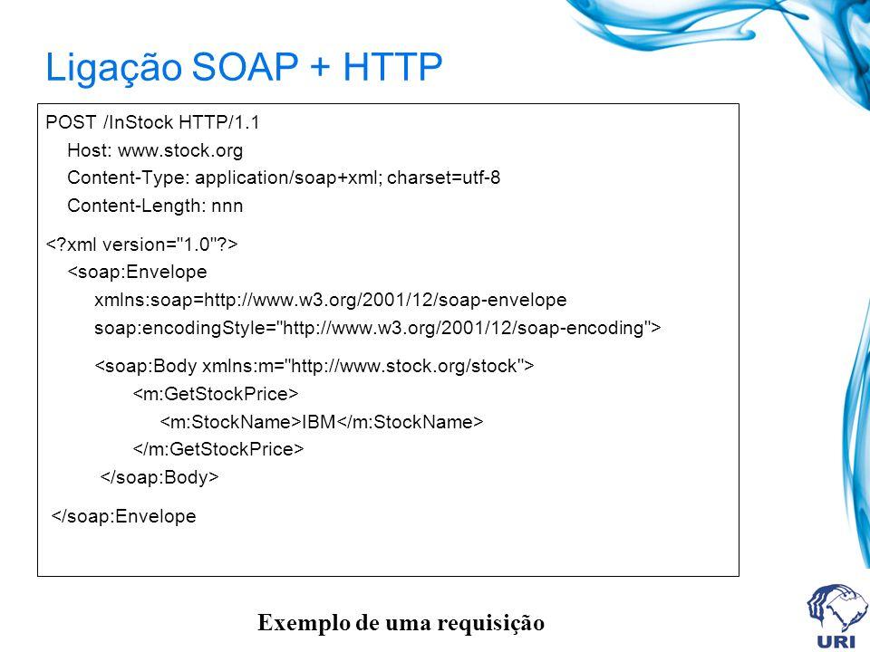 Ligação SOAP + HTTP Exemplo de uma requisição