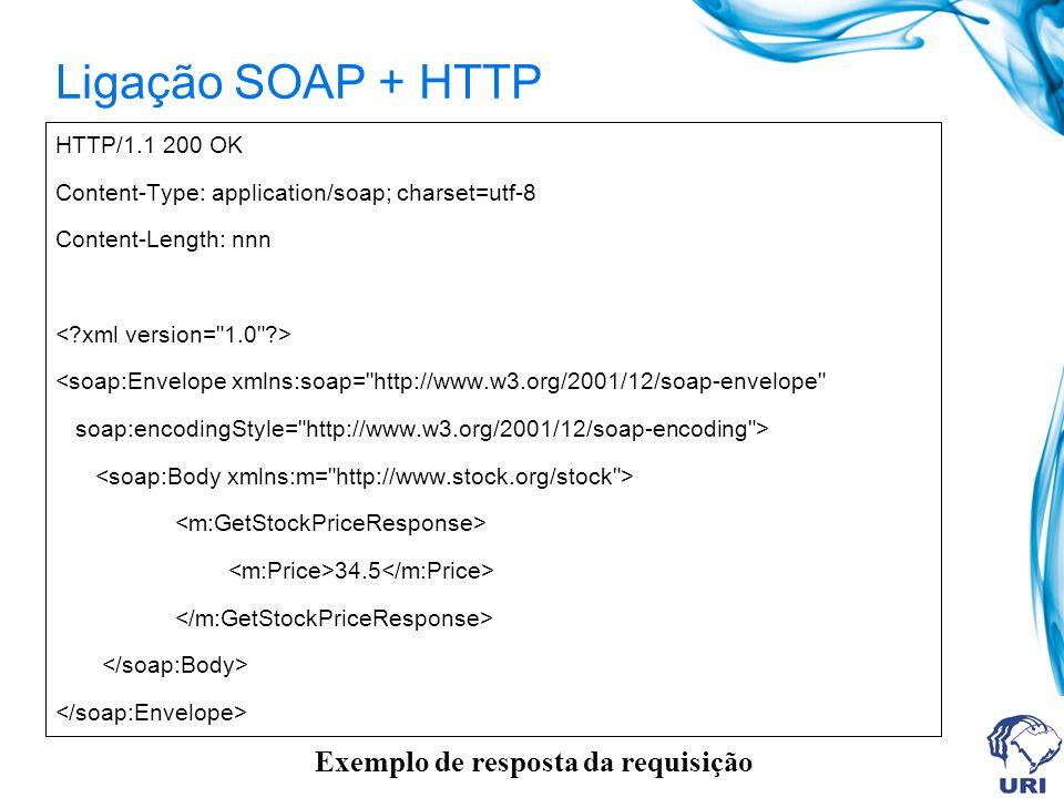 Ligação SOAP + HTTP Exemplo de resposta da requisição HTTP/1.1 200 OK