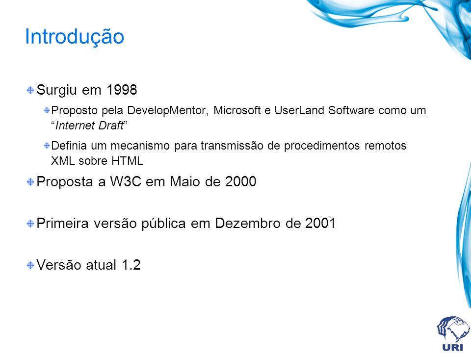 Introdução Surgiu em 1998 Proposta a W3C em Maio de 2000