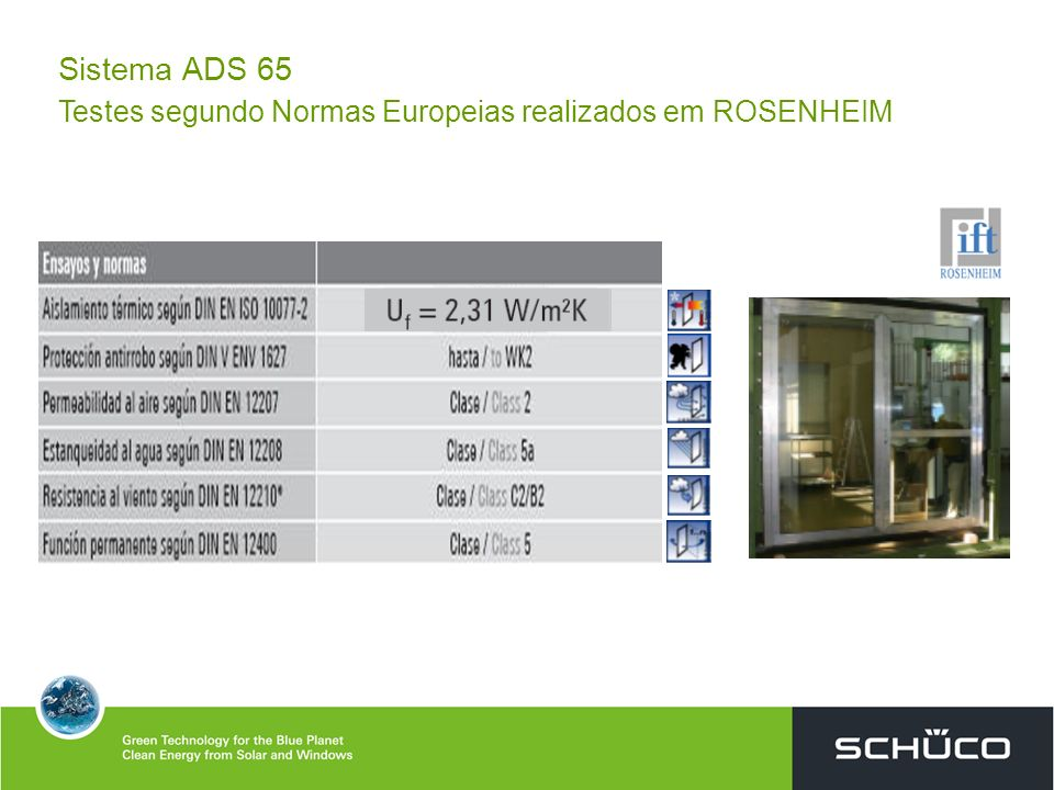 Sistema ADS 65 Testes segundo Normas Europeias realizados em ROSENHEIM
