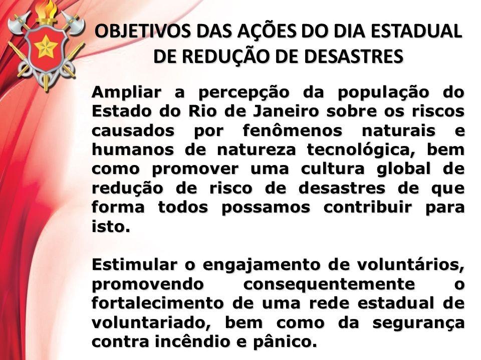 OBJETIVOS DAS AÇÕES DO DIA ESTADUAL DE REDUÇÃO DE DESASTRES