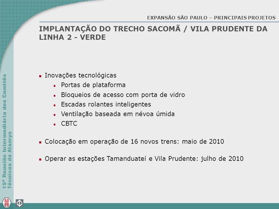 IMPLANTAÇÃO DO TRECHO SACOMÃ / VILA PRUDENTE DA LINHA 2 - VERDE