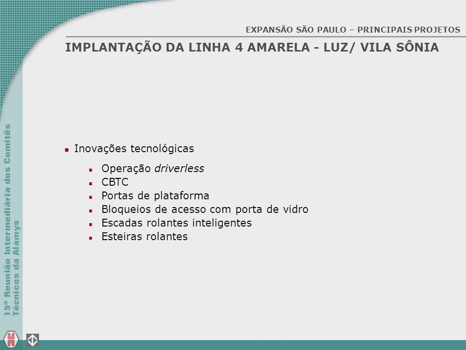 IMPLANTAÇÃO DA LINHA 4 AMARELA - LUZ/ VILA SÔNIA