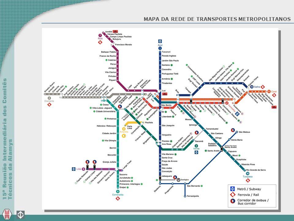 MAPA DA REDE DE TRANSPORTES METROPOLITANOS