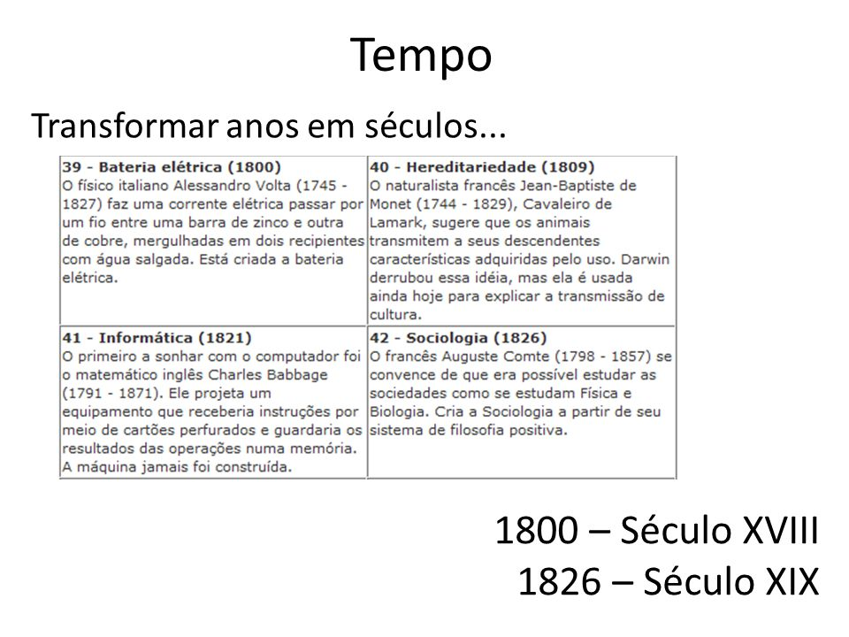 Tempo 1800 – Século XVIII 1826 – Século XIX