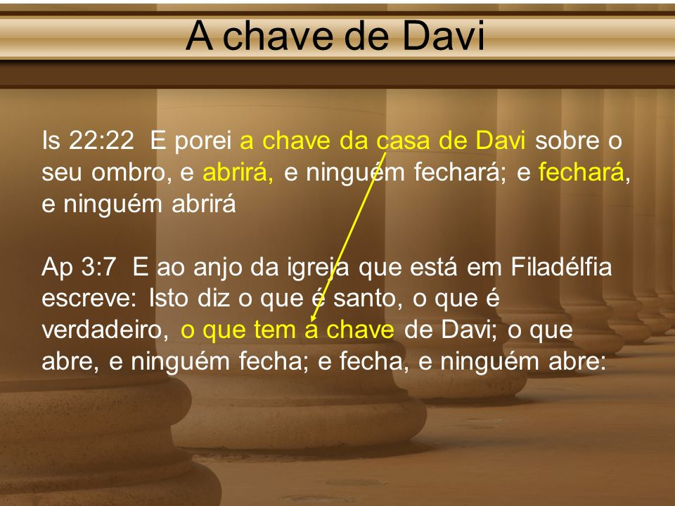 A chave de Davi Is 22:22 E porei a chave da casa de Davi sobre o seu ombro, e abrirá, e ninguém fechará; e fechará, e ninguém abrirá.