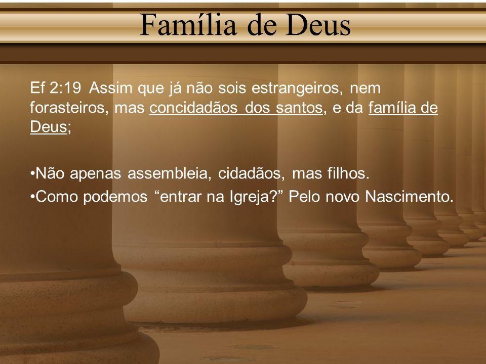 Família de Deus Ef 2:19 Assim que já não sois estrangeiros, nem forasteiros, mas concidadãos dos santos, e da família de Deus;