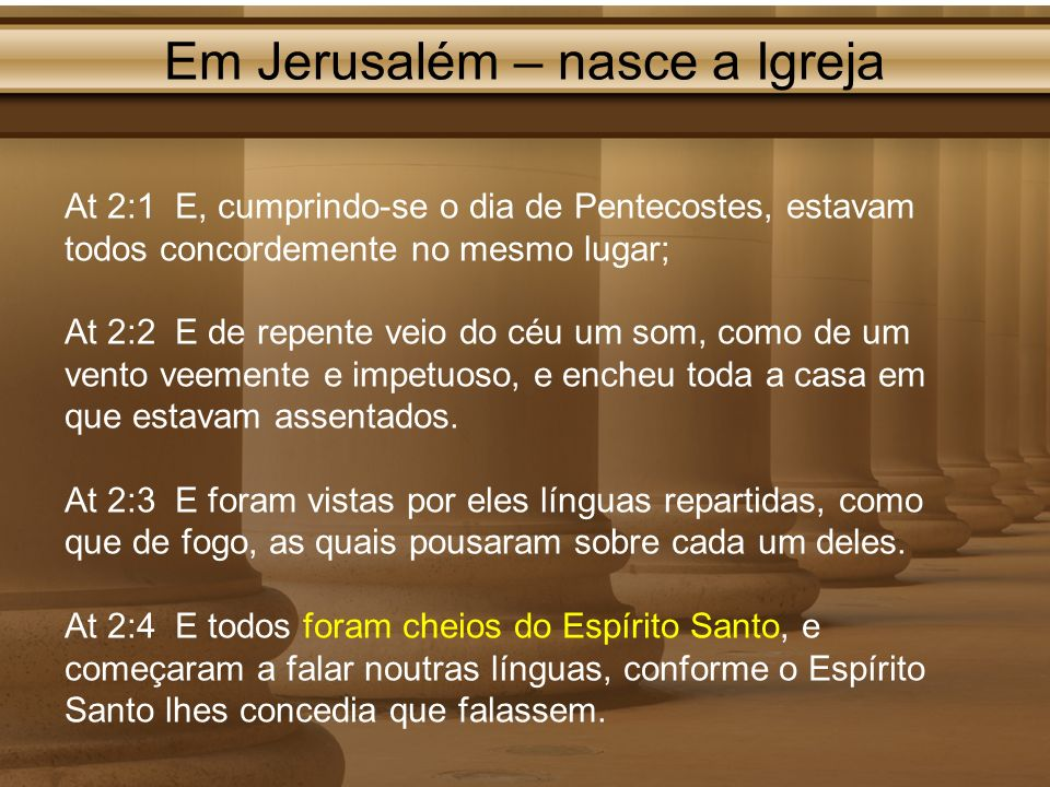 Em Jerusalém – nasce a Igreja