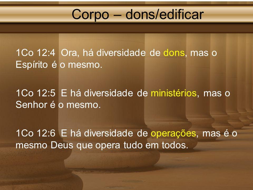 Corpo – dons/edificar 1Co 12:4 Ora, há diversidade de dons, mas o Espírito é o mesmo.